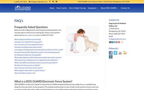 Screenshot of FAQ Page hvdogguard.com - Dog Fence Middletown NY   Dog Fencing Goshen   Electric Dog Fences Newburgh   Dog Fence Kingston   Hudson Valley Dog Guard   Hudson Valley Dog Fencing - Dog Guard Out-of-Sight Fences - captured Oct. 9, 2018