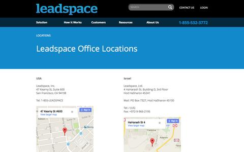 Screenshot of Locations Page leadspace.com - Our Office Locations - Leadspace - captured June 17, 2015