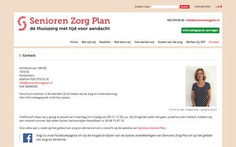 Screenshot of Contact Page seniorenzorgplan.nl - Contact » Senioren Zorg Plan - captured Nov. 18, 2016