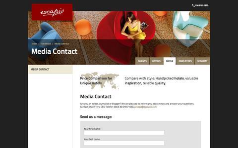 Screenshot of Press Page escapio.com - Media Contact | Escapio Corp - captured Nov. 10, 2016
