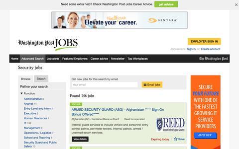 Screenshot of Jobs Page washingtonpost.com - Security jobs - captured Oct. 30, 2016