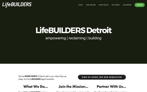 Screenshot of Home Page lifebuildersdetroit.com - LifeBUILDERS Detroit - captured March 17, 2017