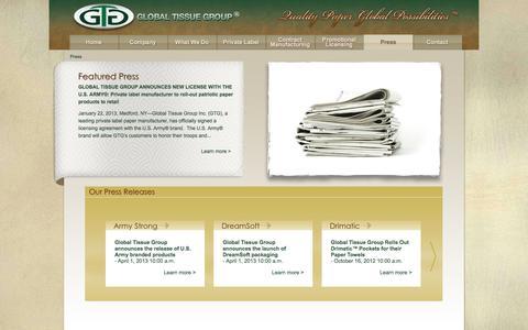 Screenshot of Press Page globaltissuegroup.com - Private Label Paper Towels Manufacturer   Global Tissue Group - captured Oct. 1, 2014