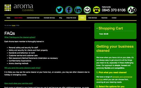 Screenshot of FAQ Page aromacleaning.co.uk - Frequently Asked Questions | Aroma Cleaning - captured Oct. 4, 2014