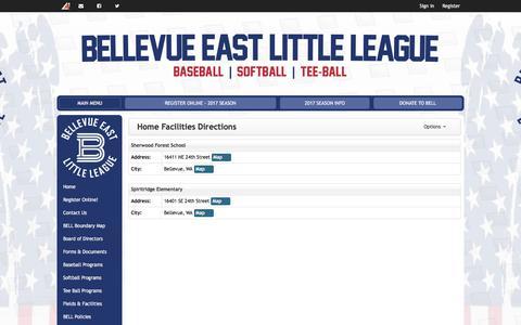 Screenshot of Maps & Directions Page bellevueeastll.org - Home Facilities Directions | Bellevue East Little League - captured Oct. 10, 2017