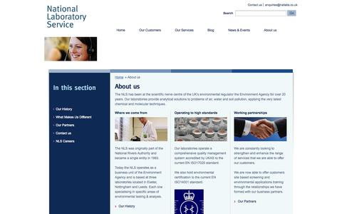 Screenshot of About Page natlabs.co.uk - National Laboratory Service – National Laboratory Service Homepage   » About us - captured Oct. 27, 2014
