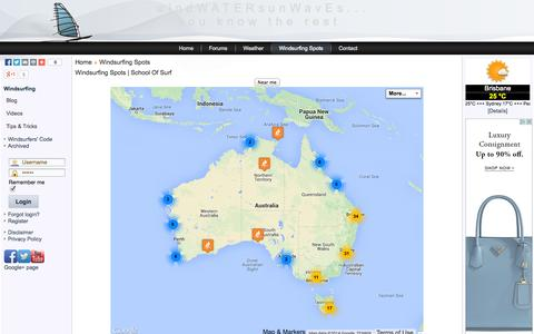 Screenshot of Locations Page schoolofsurf.com.au - Windsurfing Spots | School Of Surf - captured Sept. 18, 2014