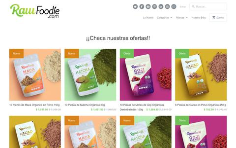 Screenshot of Home Page rawfoodie.com - Raw Foodie | Raw food y superalimentos orgánicos en México - captured July 17, 2019