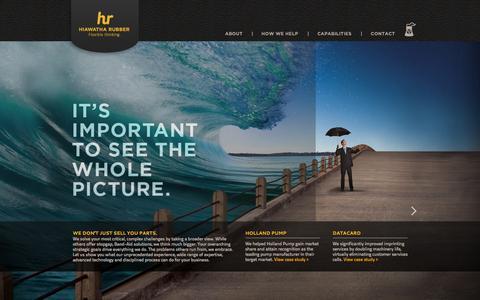 Screenshot of Home Page hiawatharubber.com - Hiawatha Rubber - Flexible thinking - captured Sept. 30, 2014
