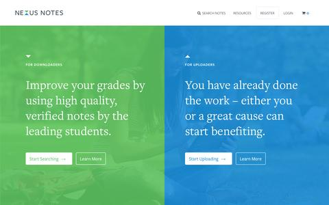 Screenshot of Home Page nexusnotes.com - Nexus Notes - Australia's #1 marketplace for student notes - captured Oct. 7, 2014