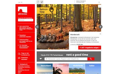 Screenshot of Home Page atraveo.de - Bei atraveo online Ferienhäuser & Ferienwohnungen buchen - captured Sept. 21, 2018