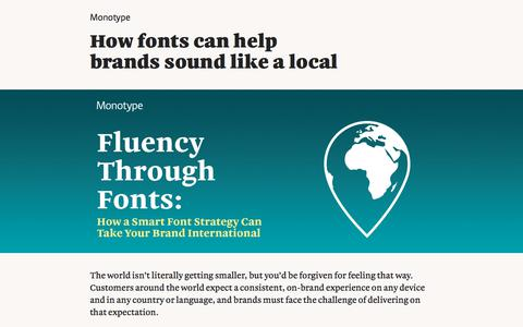 Screenshot of Landing Page monotype.com - Fluency Through Fonts: How a Smart Font Strategy can Take Your Brand International   Monotype - captured April 27, 2018