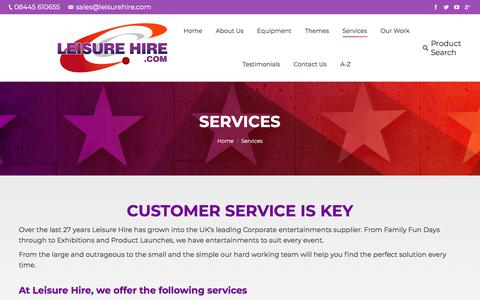Screenshot of Services Page leisurehire.com - Event and Equipment Hire | | Leisure Hire - captured Feb. 4, 2018