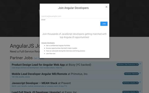 Screenshot of Home Page angularjobs.com - AngularJS Jobs + JavaScript Developer Community Resources - captured Jan. 22, 2016