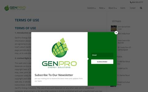 Screenshot of Terms Page genproenergy.com - Terms of Use | GenPro Energy Solutions - captured Sept. 27, 2018