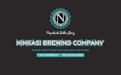 Screenshot of Home Page ninkasibrewing.com - Ninkasi Brewing Company | Age Verification - captured Aug. 12, 2015