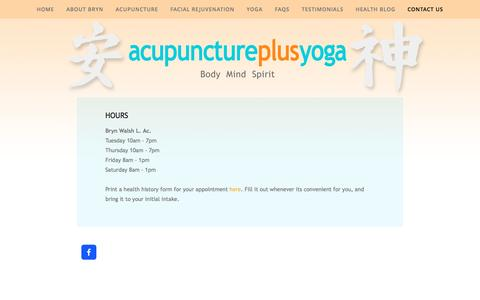 Screenshot of Hours Page acupunctureplusyoga.com - Hours — ACUPUNCTURE PLUS YOGA - captured Feb. 5, 2016