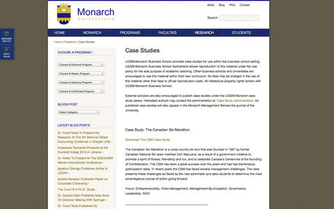 Screenshot of Case Studies Page umonarch.ch - Case Studies – UGSM-Monarch Business School Switzerland - captured Nov. 2, 2014