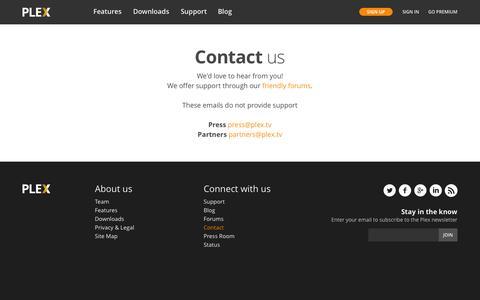 Screenshot of Contact Page plex.tv - Contact Plex - captured June 16, 2015