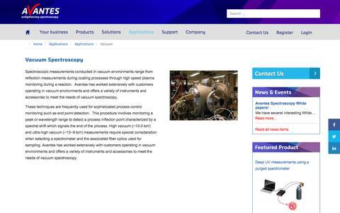 Screenshot of avantes.com - Vacuum Spectroscopy - Avantes - captured Sept. 1, 2017