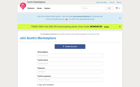 Screenshot of Signup Page scottsmarketplace.com - Signup to Shop at Scott's Marketplace - captured Nov. 23, 2015