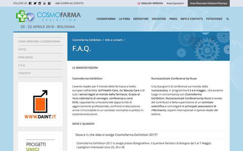 Screenshot of FAQ Page cosmofarma.com - Domande Frequenti | Cosmofarma Exhibition - captured Aug. 23, 2017