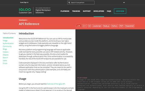 Screenshot of Developers Page igloosoftware.com - API Reference - Igloo Support - captured Feb. 7, 2019