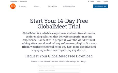 Screenshot of Trial Page pgi.com - Start Your GlobalMeet Free Trial | PGi - captured March 18, 2019