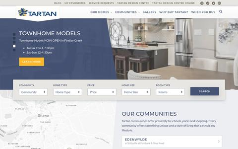 Screenshot of Home Page tartanhomes.com - Tartan | Ottawa New home builder - captured Aug. 14, 2019