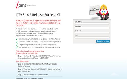 Screenshot of Landing Page icims.com - iCIMS 14.2 Release Success Kit - captured Oct. 19, 2016