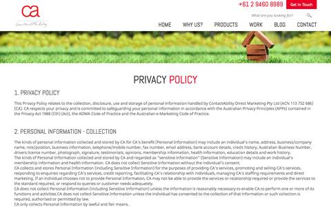 Screenshot of Privacy Page contactability.com.au - ContactAbility Privacy Policy - captured Sept. 30, 2014