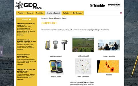 Screenshot of Support Page geoteam.dk - Support - Geoteam A/S - captured Sept. 29, 2014