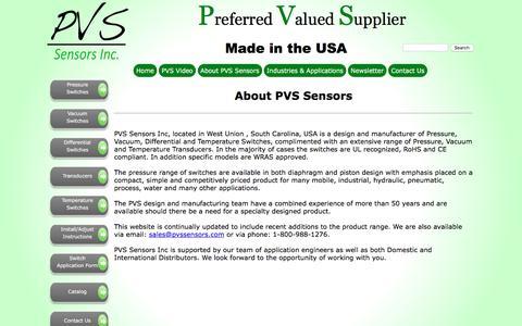 Screenshot of About Page pvs-sensors.com - PVS Sensors, Inc - About US - captured Jan. 24, 2016
