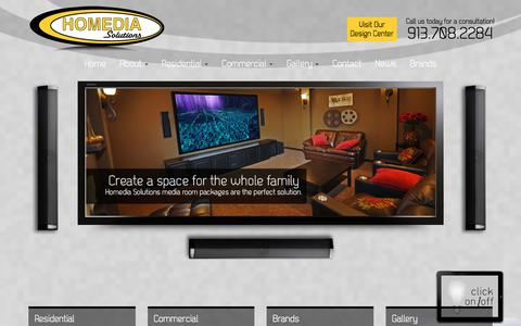 Screenshot of Home Page homediasolutions.com - Kansas City Home Theater | Audio Video Installation | Kansas City - captured Sept. 25, 2018