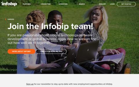 Screenshot of Jobs Page infobip.com - Careers: Join the Infobip team!   Infobip - captured Feb. 6, 2017