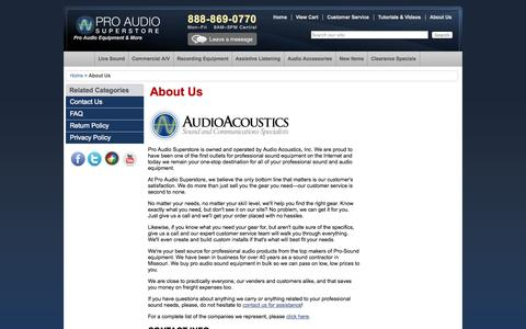 Screenshot of About Page proaudiosuperstore.com - About Us | Pro Audio Superstore - captured Oct. 4, 2014