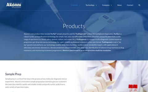 Screenshot of Products Page akonni.com - Products - Akonni Biosystems - captured Oct. 3, 2018