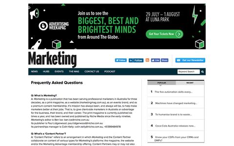 Screenshot of FAQ Page marketingmag.com.au - faq | Marketing Magazine - captured July 1, 2019