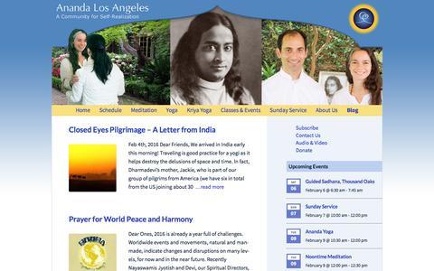 Screenshot of Blog anandala.org - Blog Archives - Ananda Los Angeles - captured Feb. 6, 2016