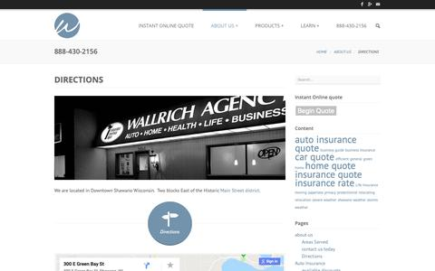 Screenshot of Maps & Directions Page wallrich.com - Directions to our office in Shawano Wisconsin -Wallrich Insurance Agency - captured Oct. 18, 2018