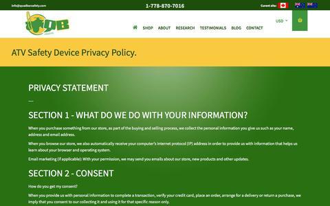 Screenshot of Privacy Page quadbarsafety.com - ATV Safety Device Privacy Policy.   Quadbar Safety - captured July 18, 2018