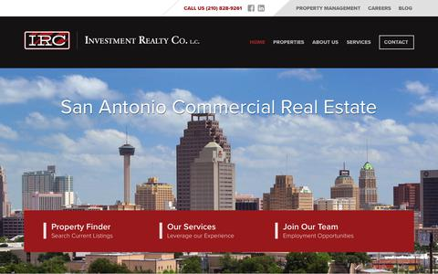 Screenshot of Home Page investmentrealty.com - San Antonio Commercial Real Estate - Investment Realty Company - captured Oct. 15, 2017