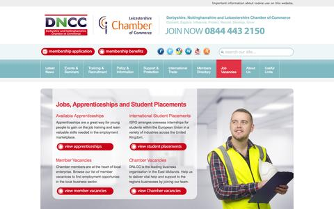 Screenshot of Jobs Page dncc.co.uk - Jobs, Apprenticeships and Student Placements - captured Sept. 19, 2014