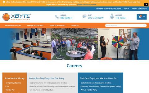 Screenshot of Jobs Page xbyte.com - Careers - captured Nov. 17, 2018