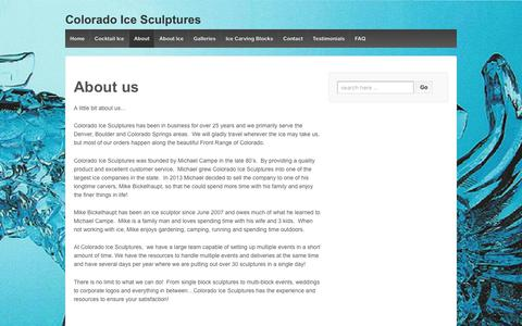 Screenshot of About Page coloradoicesculptures.com - About us – Colorado Ice Sculptures - captured Aug. 13, 2017