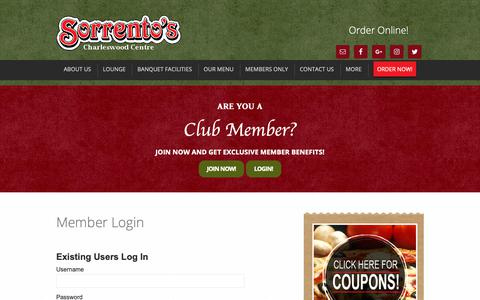 Screenshot of Login Page sorrentospizza.ca - Member Login - Sorrento's Bar and Pizzeria - captured Oct. 18, 2018
