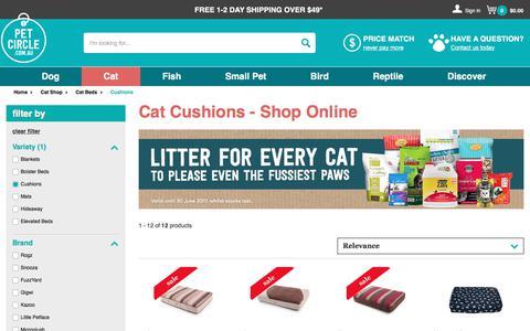 Screenshot of petcircle.com.au - Cat Cushions - Shop Online | Pet Circle - captured June 29, 2017