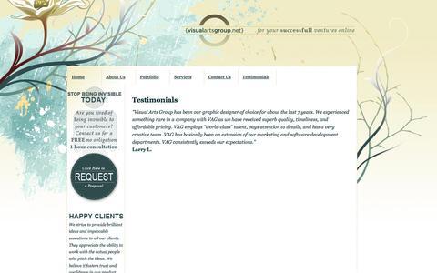Screenshot of Testimonials Page visualartsgroup.net - San Diego Web/Graphic Design,Printing,e-commerce Development, marketing - captured Oct. 7, 2014
