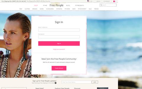 Screenshot of Login Page freepeople.com - Sign In - captured April 14, 2016