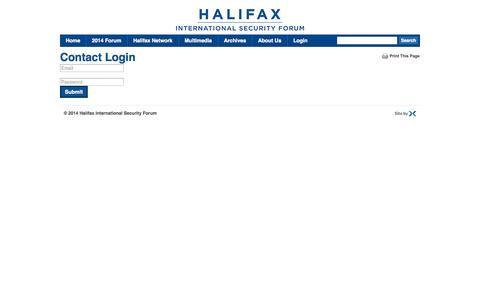 Screenshot of Login Page halifaxtheforum.org - Halifax International Security Forum  |  Login - captured Nov. 1, 2014